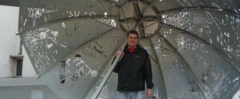 Drew and a HUGE Umbrella