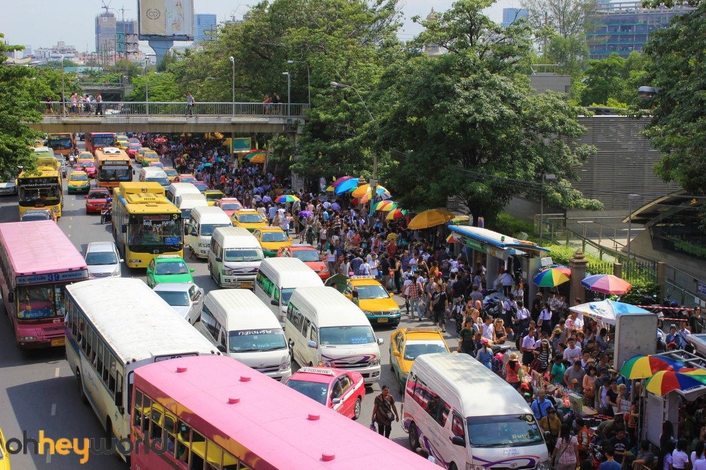 Chatuchak market - the crowds on their way to the market