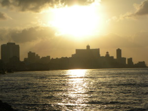 Havana skyline at sunset, dominated by Hotel Nacional. Havana waterfront.