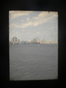 View of Havana from the lighthouse binoculars. El Castillo del Morro, Havana.