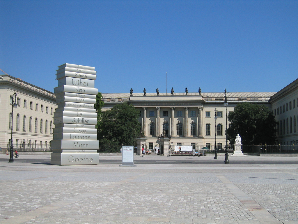 If you're staying at a hotel in Berlin near Bebelplatz, you'll see an important reminder of the city's past.